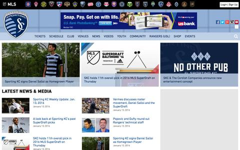 Screenshot of Home Page sportingkc.com - Sporting Kansas City - captured Jan. 14, 2016