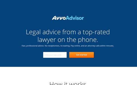 Screenshot of Landing Page avvo.com - Avvo Advisor - A great attorney on the phone in minutes - captured Oct. 27, 2014