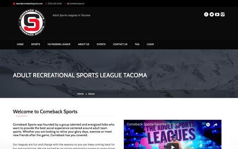Screenshot of About Page comebacksports.com - About — Comeback Sports Tacoma - captured July 20, 2018