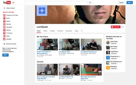 Screenshot of YouTube Page youtube.com - LumiQuest  - YouTube - captured Oct. 22, 2014