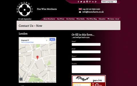 Screenshot of Contact Page moncharm.co.uk - Contact Us - Fine Wine Merchants London | Wine Retail London - captured Sept. 19, 2014
