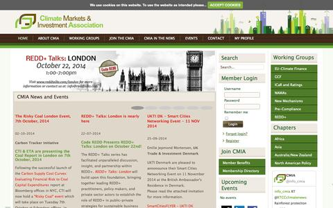 Screenshot of Home Page cmia.net - CMIA | Climate Markets & Investment Association - captured Oct. 2, 2014