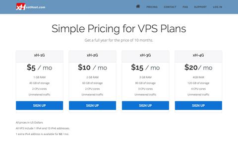 Screenshot of Pricing Page xothost.com - Pricing – xotHost.com - captured Oct. 18, 2018