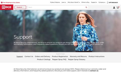 Screenshot of Support Page mace.com - Support                        Mace® Brand - captured Oct. 1, 2018
