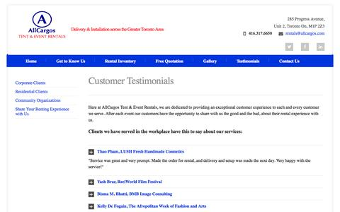 Screenshot of Testimonials Page allcargos.com - What Our Clients Have to Say About Us - captured Oct. 4, 2014