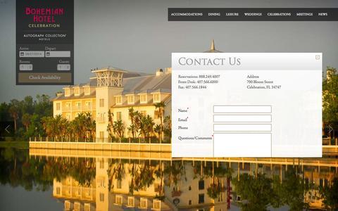 Screenshot of Contact Page celebrationhotel.com - Bohemian Hotel Contact Information| Bohemian Hotel Celebration - captured Sept. 29, 2014