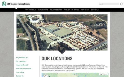 Screenshot of Locations Page ufpconcrete.com - Our Locations - UFP Concrete Forming Systems - captured Oct. 4, 2014