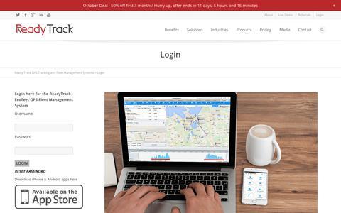 Screenshot of Login Page readytrack.com.au - Login - captured Oct. 20, 2017