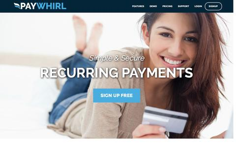 Screenshot of Home Page paywhirl.com - Recurring Payments and Subscriptions - Paywhirl - captured Sept. 19, 2014