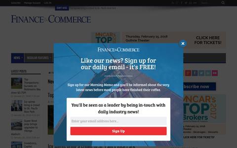 Screenshot of Press Page finance-commerce.com - News – Finance & Commerce - captured Jan. 28, 2018