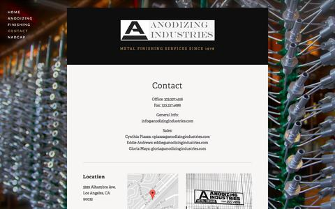 Screenshot of Contact Page anodizingindustries.com - Contact — Anodizing Industries - captured Oct. 8, 2017