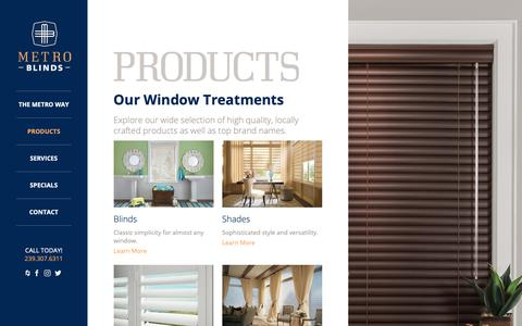 Screenshot of Products Page metroblindsfl.com - Products – Metro Blinds - captured Oct. 18, 2018