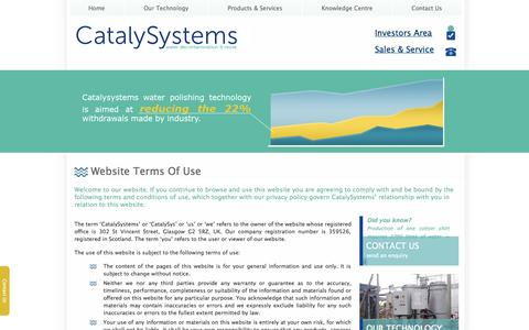 Screenshot of Terms Page catalysystems.com - Terms of use : CatalySystems UK  at CatalySystems - captured Oct. 2, 2014