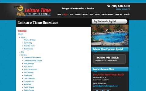 Screenshot of Site Map Page leisuretimepool.com - Sitemap | Roseville Pool Services - captured Sept. 28, 2018
