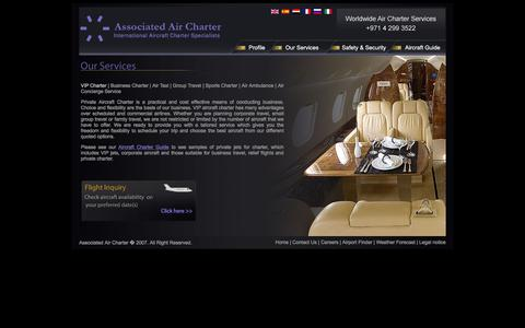 Screenshot of Services Page jetcharter.ae - VIP Charter | Business Charter | Air Taxi | Group Travel | Sports Charter | Air Ambulance | Air Concierge Service - captured Feb. 6, 2016