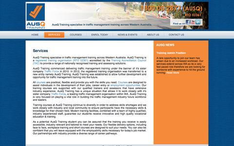 Screenshot of Services Page ausqtraining.com.au - AusQ Training RTO 52361 Traffic Management Training Specialists - captured May 31, 2017