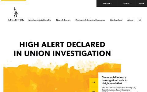 Screenshot of Home Page sagaftra.org - Home | SAG-AFTRA - captured Sept. 30, 2018