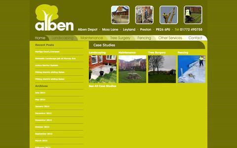 Screenshot of Case Studies Page albenlandscapes.co.uk - Case Studies | Alben Landscapes - captured Sept. 30, 2014