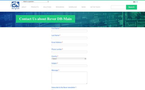 Screenshot of Support Page rever.eu - Contact Us about Rever DB-Main | REVER - captured Dec. 2, 2018