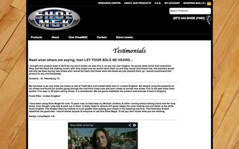 Screenshot of Testimonials Page shoemgk.com - Shoe MGK   Shoe Cleaner   Shoe Care   Sneaker Cleaner - captured Oct. 26, 2014