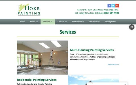 Screenshot of Services Page hokrpainting.com - services - Hokr Painting Inc - Golden Valley, MN - captured Dec. 15, 2018