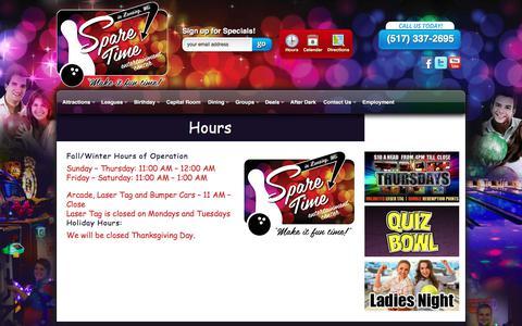 Screenshot of Hours Page sparetimelansing.com - Hours | Spare Time Entertainment Center Hours of Operation | Spare Time Entertainment Center - captured Oct. 26, 2017
