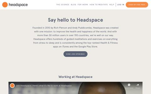 Screenshot of Jobs Page headspace.com - Join the Headspace Team - captured Sept. 14, 2019