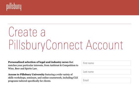Screenshot of Login Page pillsburylaw.com - PillsburyConnect | register - captured Sept. 28, 2018