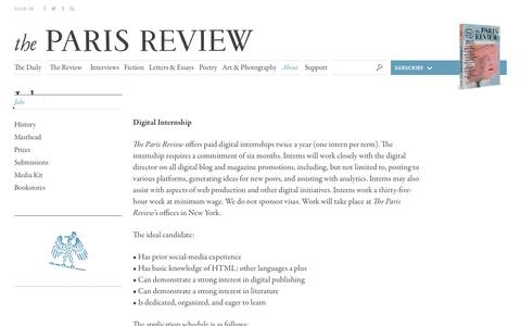 Screenshot of Jobs Page theparisreview.org - Paris Review - Writers, Quotes, Biography, Interviews, Artists - captured Oct. 30, 2017