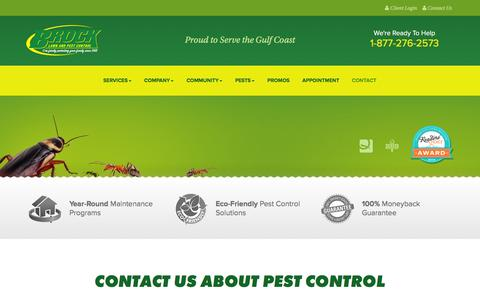 Screenshot of Contact Page brockpest.com - Brock Lawn and Pest Control | Contact Us about Marianna Pest Control, Destin Pest Control or Panama City Pest Control - captured Feb. 8, 2016