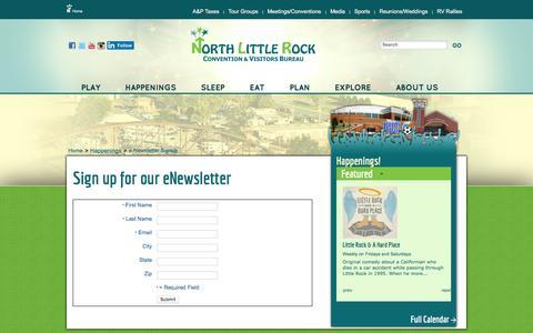 Screenshot of Signup Page northlittlerock.org - eNewsletter Signup - North Little Rock Convention & Visitors Bureau - captured Feb. 15, 2016