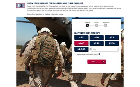 Screenshot of Landing Page uso.org - Donate | USO.org - captured April 19, 2018