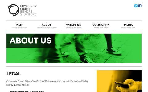 Screenshot of Terms Page thecommunitychurch.org.uk - Community Church Bishop's Stortford | About us | Legal - captured Nov. 2, 2014