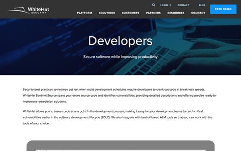 Screenshot of Developers Page whitehatsec.com - Application Security for Software Development - WhiteHat Security - captured Sept. 21, 2019