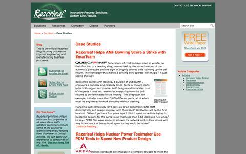 Screenshot of Case Studies Page razorleaf.com - Case Studies | Razorleaf Corporation – Innovative Process Solutions - captured Oct. 7, 2014