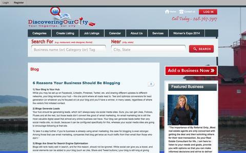 Screenshot of Blog discoveringourcity.com - Blog - DiscoveringOurCity.com - captured Oct. 5, 2014