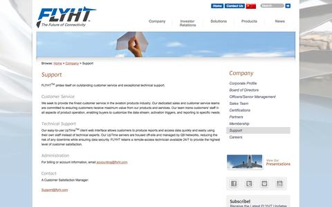 Screenshot of Support Page flyht.com - Support | FLYHT Aerospace Solutions Ltd. - captured Sept. 30, 2014