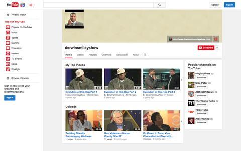 Screenshot of YouTube Page youtube.com - derwinsmileyshow  - YouTube - captured Nov. 5, 2014
