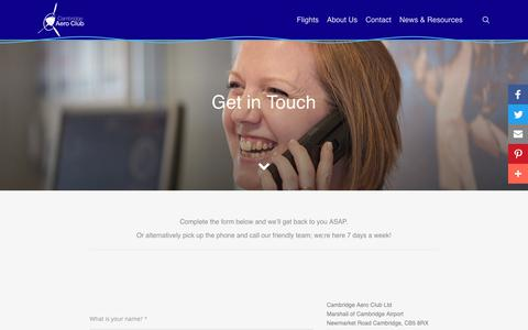 Screenshot of Contact Page cambridgeaeroclub.com - Contact - Cambridge Aero Club - captured Sept. 26, 2018