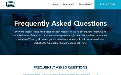 Screenshot of FAQ Page simmons.com - Mattress Information | Learn More | Simmons - captured Dec. 1, 2016