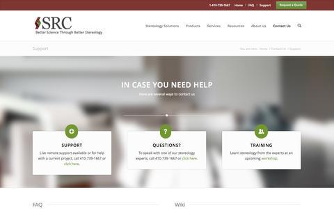 Screenshot of Support Page stereologyresourcecenter.com - Support - SRC - captured Oct. 7, 2014