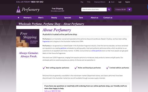 Screenshot of About Page perfumery.com.au - Wholesale Perfume, Perfume Shop Đ About Perfumery - captured Dec. 8, 2015