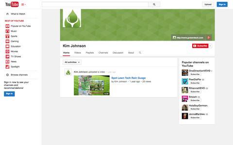 Screenshot of YouTube Page youtube.com - Kim Johnson  - YouTube - captured Oct. 22, 2014