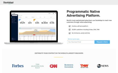 Screenshot of Landing Page stackadapt.com - Programmatic Native Advertising Platform - captured Oct. 16, 2016