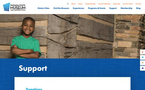 Screenshot of Support Page indianamuseum.org - Support the Indiana State Museum - captured Oct. 11, 2018