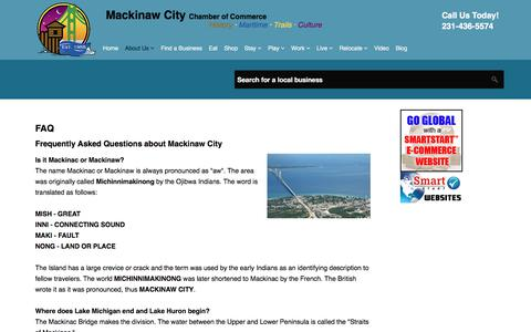 Screenshot of FAQ Page mackinawchamber.com - FAQ - captured Sept. 27, 2017