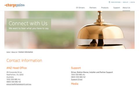 Screenshot of Contact Page chargepoint.com - Contact Information - ChargePoint - captured Sept. 24, 2018