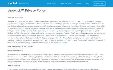shopkick™ Privacy Policy - Shopkick