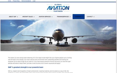 Screenshot of Jobs Page globalaviationpartners.com - CAREERS | Global Aviation Partners Global Aviation Partners - captured Sept. 30, 2014