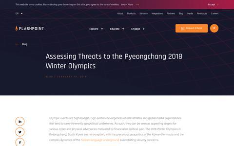Screenshot of Blog flashpoint-intel.com - Flashpoint - Assessing Threats to the Pyeongchang 2018 Winter Olympics - captured Nov. 12, 2019